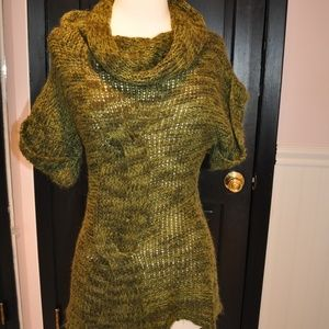 New Directions Green Cowl Neck Sweater